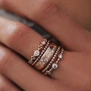 5pcs / set Vintage donne placcato oro rosa Stack pianura sopra Knuckle Crystal Rose Gold Boho Rings