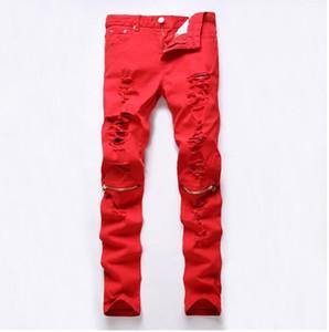 2016 nuovi jeans strappati Red Hole Knee Club uomini famosi marca Slim Fit taglio distrutto strappato Jean pantaloni per uomo Homme