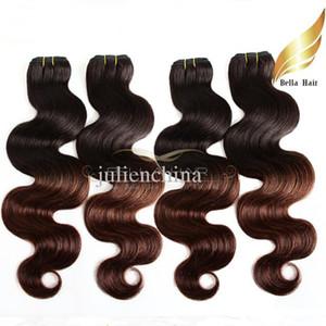 Brezilyalı Vücut Dalga Saç Uzantıları 2 Ton Ombre örgüleri T # 1B / 4. Renk İnsan saç örgüleri Atkı Dip Boya Ombre Ücretsiz Kargo BellaHair