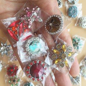 2016 Morceaux Snap Button Mélange de Bijoux Beaucoup De Styles 18mm Metal Snap Bouton Charme Strass Bouton Gingembre Snaps Bijoux Real Pictures E690L