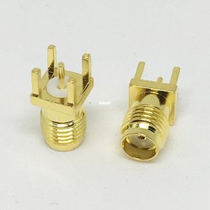 100Pcs\Lot Freeshipping Gold PCB Mount SMA Female Plug Straight RF Connector Adapter Jack Panel Mount Through Hole Vertical 4mm