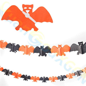 Halloween supplies party DIY decoración 3D Spider calabaza fantasmas murciélagos cadena de papel Garland banner pull flores Decoración