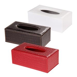Оптовая торговля-Крокодил стиль ткани Box обложка Главная искусственная кожа салфетка держатель бумаги Case высокое качество для кухни / спальни Creative Tissue Case