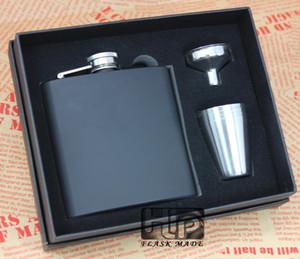 Черные Колбы набор 6oz тазобедренном fask 4 чашки набор, Persoanlized логотип доступен, пена внутренняя и коробка подарка