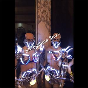 AS89 led ضوء قاعة النساء زي / الصدرية المرحلة بار الصمام ازياء dj ديسكو حزب المغني مثير ارتداء ملابس الرقص روبوت الرجال الملابس