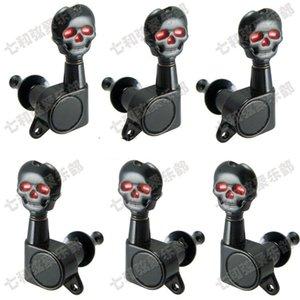 3R3L siyah gitar aksesuarları Akustik Gitar dizeleri için Kafatası düğmesi Tuning Burgular Keys tuner Makine Başkanları Gitar Parçaları