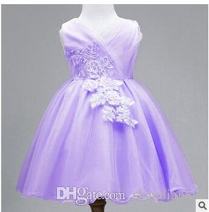 New White Lace Tulle Flower Girl Dress Little Princess Communion Dresses Ball Gown Quality Girls Dress for Wedding Party