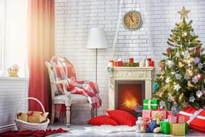 Fundo Branco Brick Wall Lareira Fotografia Backdrops Red Curtain Janela Basket Caixas de presente Toy Urso Sparkling da árvore de Natal Foto