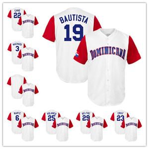 2017 Dominicana De Beisebol Do Mundo 22 Robinson Cano 19 José Bautista 3 Manny Machado 23 Nelson Cruz 6 Marte Branco Clássico De Beisebol Jerseys Bom