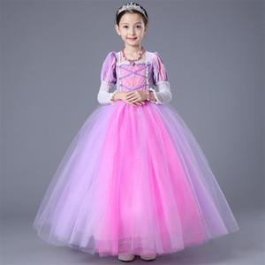 Yüksek Kaliteli Kızlar Rapunzel Tangled Prenses Elbiseler Uzun Kollu Katmanlar Hem Çocuk Cadılar Bayramı Noel Kostüm Giyim HH7-216