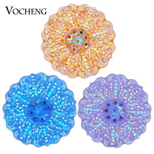 NOOSA Ginger Snap Flower Bling Charm 6 colores 18 mm resina Snap Jewelry VOCHENG Vn-1292