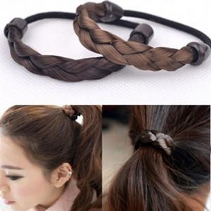 Firkete Kore Saç Halat Halka Elastik Örgülü Tonytail Wrap Hairband Çakma Aksesuarları Sentetik Şapkalar Ponytails Tutucu Saç takı