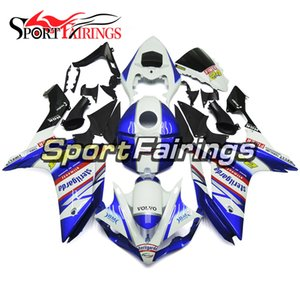 Full Injection White Blue Red Decals Nuevo para Yamaha YZF1000 YZF R1 2007 2008 Plásticos ABS Fairings Kit de careta de la motocicleta Body Hulls