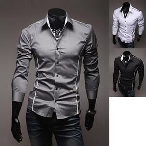 Wholesale- HoT 2016 Mens Fashion Cotton Designer Cross Line Slim Fit Dress man Shirts Tops Western Casual XS S M L 8384