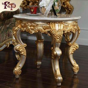 Muebles de salón barrocos antiguos, mesa de centro clásica francesa con encimera de mármol - mesa redonda italiana de café