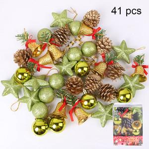 41 unids árbol de navidad chuchería decoración navidad verde oro colgante en casa adorno del partido colgante decoraciones accesorios nuevos