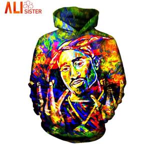 Wholesale- Alisister Painting 2pac Hoodies Sweatshirt Hip Hop Men's Hoody Tupac Tracksuit Unisex Cool Streetwear  Clothing Dropship
