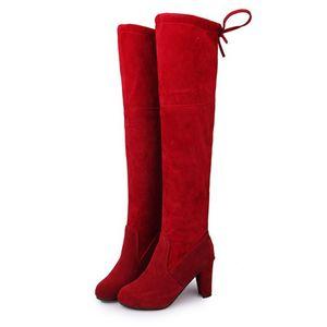 2017 del ginocchio delle donne di cuoio stivali sexy Suede Shoes talloni delle donne quadri inverno caldo Moto Stivali Size 35-43