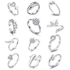 925 anillos de plata esterlina Jewerly Dolphins Dragonfly del ángel amor Fox apertura de la mariposa anillo ajustable para las mujeres