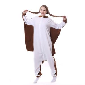 Yeni Unisex Bayan Pijama Sevimli Uçan sincap Hayvan pijamalar Tam Kollu Kostüm Pijama Kapüşonlular Homewear