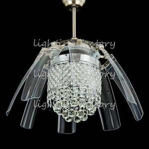 42 inch Led Ceiling Fans Light AC 110V 220V Invisible Blades crystal wings Ceiling Fans Modern Fan Lamp Living Room Bedroom Chandeliers