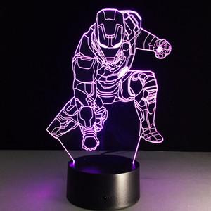 Nueva 3D Iron man Lámpara de ilusión óptica Luz nocturna DC 5V Carga USB 5ª batería Dropshipping al por mayor Envío gratuito