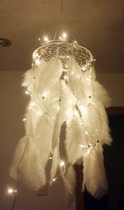 Más reciente hecho a mano Dream Catcher con plumas colgando decoración Craft regalo blanco Room Decor adesivos para parede Dreamcatcher