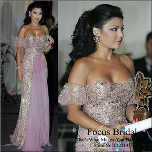 Vestido árabe Vestidos de noche elegantes de la alfombra roja Vestidos de fiesta de Paolo Sebastian Vestidos de noche de fiesta Cristales con cuentas Vestido de fiesta formal