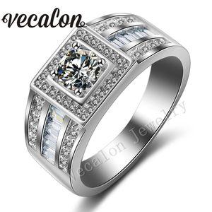 Vecalon Moda Erkekler Nişan Band Solitaire 1ct Cz Simüle elmas yüzük 10KT Beyaz Altın Dolgulu Alyans Erkekler için Sz 7-13