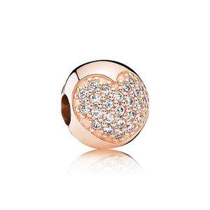 Новый 18K розовое золото большое отверстие бусины капельного ретро Овальный / любовь форма Алмаз стекло Кристалл серебряные бусины DIY Pandora браслет ювелирных изделий
