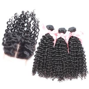Kinky Curly Hair Extension Bundles 3 pc Com 1 pc Parte Do Meio Fechamento Rendas 4x4 100% Cabelo Humano Peruano Com Fecho Cor Natural 4 pc