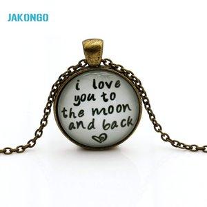 JAKONGO Glass Dome Cabochon 25mm te amo a la luna y la espalda collar de cristal Cabochon Dome colgante N004