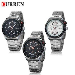 CURREN 8148 style concis montres de montres de style masculin avec cadran grand calendrier montre False trois yeux affaires montre à quartz Vente en gros