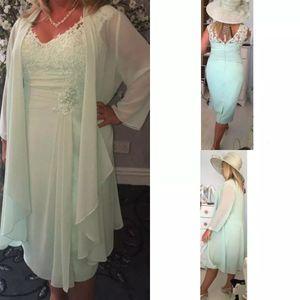 2017 линия мудрец зеленый мать невесты платья длиной до колен кружева матери платье дешевые жених платья матери с курткой