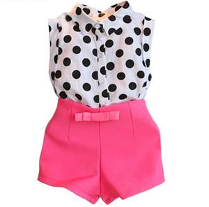 2 pz / set 2016 Bambini Set Bambini Vestito Abiti gilrs estate stile vestiti delle ragazze dot top T-shirt + pantaloncini rosa dolce arco neonate abbigliamento