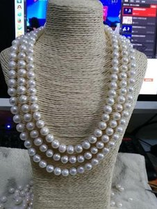 Elegant triple strands 9-10mm natural south seas white Pearl Necklace 18-20 inch 14K gold clasp