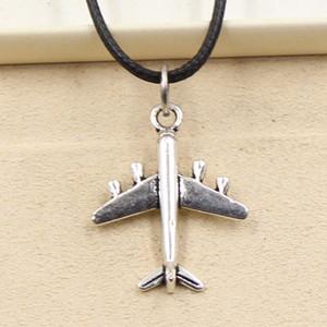 12pcs нового способа тибетский серебряный кулон самолет 27 * 21мм ожерелье Choker Шарм черный кожаный шнур Цена завода ручной Jewlery