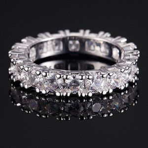 Vecalon Bijoux Classique marque de mode 925 Bague en argent sterling pleine ronde 2 Carat CZ diamant Bagues de fiançailles de mariage pour les femmes