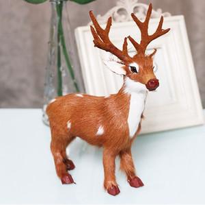 Simulación de Navidad Deer Home Decoration Plush Toy con plantilla Sika Deer Model para Niños Baby Doll Regalo de cumpleaños para niños