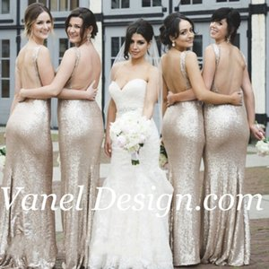 Sparkling Gold Sequins 2019 Mermaid Bridesmaid Dresses Cheap Open Back Sexy V Neck Plus Size Formal Gowns Sweep Train Maid of Honour Dress