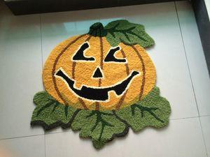 Hand Hooked Halloween Pumpkin Mat Living Door Mats Carpet Supplies, Embroidered Porch Doormat Floor Rug Home Decoration Festival Gift