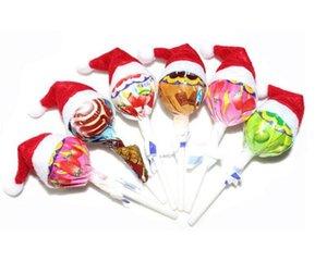 뜨거운 판매 미니 산타 클로스 모자 크리스마스 크리스마스 휴일 롤리팝 상단 토퍼 커버 홈 크리스마스 크리스마스 장식 축제