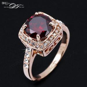 Kırmızı Rhinestone Kaplamalı CZ Elmas Vintage Nişan Yüzüğü 18 K Altın Kaplama Moda Marka Takı Kadınlar Hediye Için aneis anel DFR322
