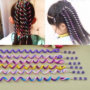 Headband 6pcs crianças meninas DIY Hair Styling trança espiral Encrespadores Rolos cabeça Vestido faixa flexível Bendable cabelo dos rolos Encrespadores