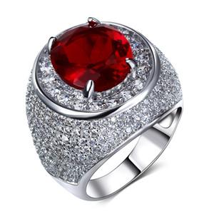 Hermoso anillo con champán grande / claro y rojo Siam Cristal de zirconio Colorido CZ Joyería Anillo de dedo completo de lujo Femal