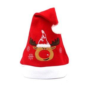 50 Unids / lote Fancy Snowman Reindeer Santa Claus Pattern X 'Mas Hats Christmas Theme Caps Wear Party Banquet Decorations Hx 559
