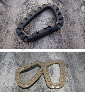 10 unids / lote D forma montañismo hebilla táctica Snap Clip plástico acero escalada mosquetón colgando llavero gancho EDC Gear