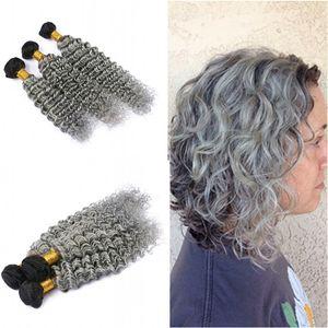Ombre Color Silver Grey Deep Wave Hair teje 3 piezas sin procesar 100 cabello humano rizado profundo 1B Grey Hair 3Bundles Extension