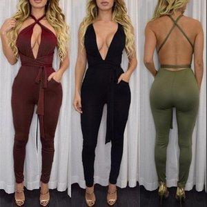 Women New Fashion Pocket Rompers Jumpsuit Womens Sexy Sleeveless Playsuit Bodysuits Elegant Bandage Jumpsuits Backless Hollow out Jumpsuits