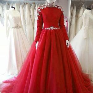Красное бальное платье свадебное платье скромные высокие шеи с длинными рукавами кристаллы украшенные тульскими свадебными платьями на заказ